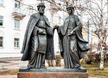 Μνημείο στο Peter και Fevronia στο Αρχάγγελσκ Στοκ Εικόνες