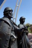Μνημείο στο ST Peter και Fevronia στο ανάχωμα του χωριού Romanovskaya στην περιοχή του Ροστόφ Στοκ Εικόνες
