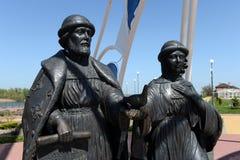 Μνημείο στο ST Peter και Fevronia στο ανάχωμα του χωριού Romanovskaya στην περιοχή του Ροστόφ Στοκ Φωτογραφία