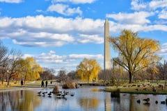 Μνημείο της Ουάσιγκτον από τους κήπους συνταγμάτων - Washington DC, ΗΠΑ Στοκ Φωτογραφία