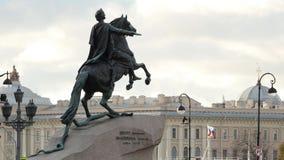 Μνημείο του ρωσικού αυτοκράτορα Μέγας Πέτρος, γνωστό ως ιππέας χαλκού ή χαλκού απόθεμα βίντεο