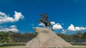Μνημείο του ρωσικού αυτοκράτορα Μέγας Πέτρος, γνωστό ως ιππέας χαλκού timelapse hyperlapse, Άγιος Πετρούπολη απόθεμα βίντεο