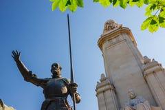 Μνημείο του Miguel de Cervantes στη Μαδρίτη Στοκ Φωτογραφία