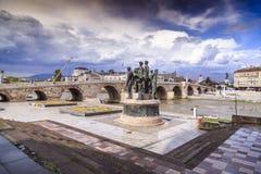 Μνημείο των λεμβούχων Salonica στα Σκόπια, Μακεδονία στοκ φωτογραφία με δικαίωμα ελεύθερης χρήσης
