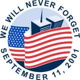 μνημείο 911 αμερικανικών σημ&alph διανυσματική απεικόνιση