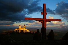 Μνημείο Calvary Χριστού στο άδυτο του Serra DA Piedade στοκ φωτογραφίες