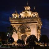 Μνημείο Patuxai τη νύχτα σε Vientiane Στοκ Φωτογραφία