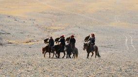 Μογγολικοί κυνηγοί αετών με τον κυνηγό αετών στο βραχίονά τους που οδηγά στο horsebac απόθεμα βίντεο