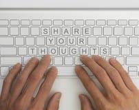 Μοιραστείτε την έννοια σκέψεών σας στοκ εικόνες