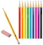 μολύβια γομών χρώματος κα&nu Στοκ φωτογραφία με δικαίωμα ελεύθερης χρήσης