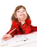 μολύβι κοριτσιών σχεδίων Στοκ Εικόνα