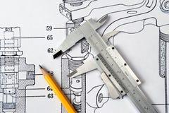 μολύβι παχυμετρικών διαβ&e Στοκ Εικόνες
