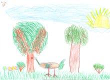 μολύβι χρωμάτων σχεδίων παιδιών Στοκ Φωτογραφίες