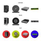 Μονάδα συστημάτων, κάρτα μνήμης και άλλος εξοπλισμός Καθορισμένα εικονίδια συλλογής προσωπικών Η/Υ στα κινούμενα σχέδια, μαύρο, ε ελεύθερη απεικόνιση δικαιώματος