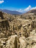 Μοναδικές γεωλογικές μορφές απότομων βράχων σχηματισμών, πάρκο κοιλάδων φεγγαριών, βουνά Λα Παζ, προορισμός ταξιδιού τουριστών τη στοκ φωτογραφία