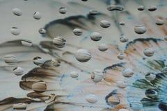 Μοναδικές πτώσεις νερού στο γυαλί Στοκ Εικόνες