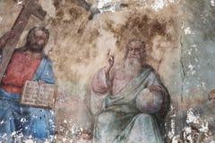 Μοναδική ιερή τριάδα νωπογραφίας: Πατέρας, γιος, ιερό περιστέρι πνευμάτων, ναός του αρχαγγέλου Michael, 19ος αιώνας Έννοια — πολι στοκ φωτογραφία