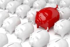 Μοναδική κόκκινη piggy τράπεζα Στοκ φωτογραφία με δικαίωμα ελεύθερης χρήσης