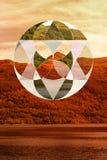 Μοναδικό γεωμετρικό κολάζ πέρα από την εικόνα της Σκωτίας το φθινόπωρο Στοκ εικόνες με δικαίωμα ελεύθερης χρήσης