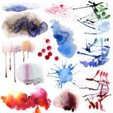 Μοναδικό σύνολο Watercolor Στοκ εικόνα με δικαίωμα ελεύθερης χρήσης