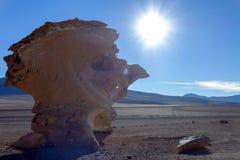 Μοναδικό τοπίο της ερήμου Siloli με πέτρινο Tree Arbol de Piedra στην κοιλάδα των βράχων, Βολιβία στοκ εικόνα