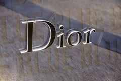 Μονακό Γαλλία - 10 Σεπτεμβρίου 2017 Σημάδι και λογότυπο καταστημάτων ενδυμάτων Dior Το Dior είναι ένα διάσημο κατάστημα ενδυμάτων στοκ φωτογραφίες