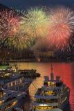 Μονακό - γαλλικό Riviera - παρουσίαση πυροτεχνημάτων στοκ φωτογραφίες