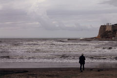 Μοναξιά στην αδριατική ακροθαλασσιά, θύελλα (Μαυροβούνιο, χειμώνας) Στοκ φωτογραφία με δικαίωμα ελεύθερης χρήσης