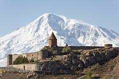 Μοναστήρι και ΑΜ Ararat Virap Khor στην Αρμενία Στοκ φωτογραφίες με δικαίωμα ελεύθερης χρήσης