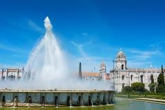 Μοναστήρι και πηγή Λισσαβώνα Πορτογαλία Jeronimos Στοκ φωτογραφίες με δικαίωμα ελεύθερης χρήσης