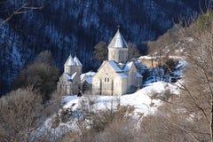 Μοναστήρι Hagarcin, Αρμενία, ένα κρύο χειμερινό πρωί Στοκ Φωτογραφία