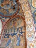 Μοναστήρι hodos-Bodrog - mural ζωγραφική λεπτομέρειας πορτών εισόδων υπόγειων θαλάμων Στοκ Εικόνες