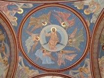 Μοναστήρι hodos-Bodrog - mural ζωγραφική λεπτομέρειας πορτών εισόδων υπόγειων θαλάμων Στοκ φωτογραφίες με δικαίωμα ελεύθερης χρήσης