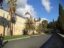 Μοναστήρι novo-Athos simono-Kananitsky Η πόλη νέου Athos στοκ φωτογραφίες με δικαίωμα ελεύθερης χρήσης
