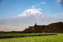 Μοναστήρι Virap Khor που βλέπει με την ΑΜ Ararat Στοκ φωτογραφίες με δικαίωμα ελεύθερης χρήσης