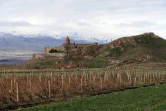 Μοναστήρι Virap Khor στο υποστήριγμα Ararat στην Αρμενία Στοκ φωτογραφία με δικαίωμα ελεύθερης χρήσης