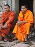 Μοναχοί σε Angkor Wat, Καμπότζη Στοκ Φωτογραφίες