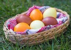 Μοναδικά χρωματισμένα χέρι αυγά Πάσχας στο καλάθι στη χλόη Στοκ Φωτογραφία