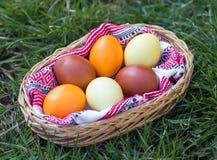 Μοναδικά χρωματισμένα χέρι αυγά Πάσχας στο καλάθι στη χλόη Στοκ Εικόνες