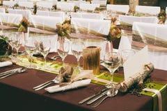 Μοναδικές διακοσμήσεις γαμήλιων πινάκων Στοκ Εικόνες