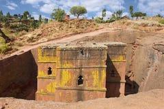 Μοναδική μονολιθική βράχος-κομμένη εκκλησία του ST George, παγκόσμια κληρονομιά της ΟΥΝΕΣΚΟ, Lalibela, Αιθιοπία στοκ φωτογραφία