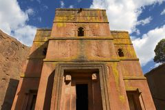 Μοναδική μονολιθική βράχος-κομμένη εκκλησία του ST George, παγκόσμια κληρονομιά της ΟΥΝΕΣΚΟ, Lalibela, Αιθιοπία στοκ εικόνα