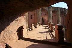 Μοναδική μονολιθική βράχος-κομμένη εκκλησία, Lalibela, Αιθιοπία Περιοχή παγκόσμιων κληρονομιών της ΟΥΝΕΣΚΟ στοκ εικόνα με δικαίωμα ελεύθερης χρήσης