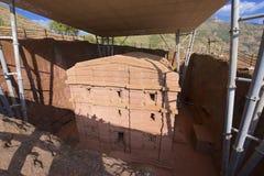 Μοναδική μονολιθική βράχος-κομμένη εκκλησία, Lalibela, Αιθιοπία Περιοχή παγκόσμιων κληρονομιών της ΟΥΝΕΣΚΟ στοκ φωτογραφία με δικαίωμα ελεύθερης χρήσης