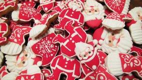 Μοναδική σπιτική ζωηρόχρωμη συλλογή μπισκότων Χριστουγέννων Στοκ Εικόνα