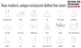 Μοναδικό και σύγχρονο σύνολο εικονιδίων διαστιγμένων γραμμών εστιατορίων Στοκ φωτογραφία με δικαίωμα ελεύθερης χρήσης