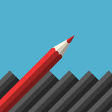 Μοναδικό κόκκινο αιχμηρό μολύβι απεικόνιση αποθεμάτων