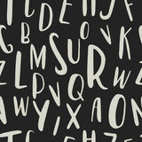 Μοναδικό συρμένο χέρι λατινικό άνευ ραφής σχέδιο αλφάβητου Χαριτωμένες επιστολές μεγέθους ABC διαφορετικές που σύρονται με το χέρ Στοκ Εικόνα