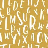 Μοναδικό συρμένο χέρι λατινικό άνευ ραφής σχέδιο αλφάβητου Χαριτωμένες επιστολές μεγέθους ABC διαφορετικές που σύρονται με το χέρ Στοκ Φωτογραφίες