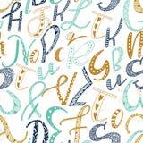 Μοναδικό συρμένο χέρι λατινικό άνευ ραφής σχέδιο αλφάβητου Χαριτωμένες διανυσματικές επιστολές μεγέθους doodle ABC διαφορετικές π Στοκ Εικόνες